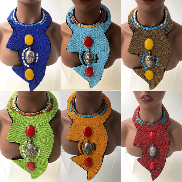 Sulele Beaded Tribal Bib Necklace - Trufacebygrace