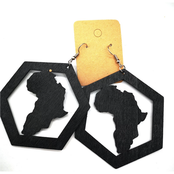 Hexagon with Motherland Map Wooden Earrings