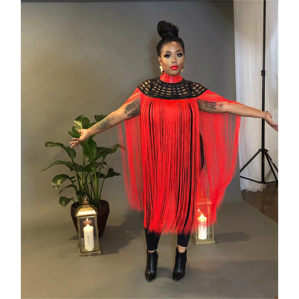 Queen Ankara Laced Long Fringe Cape