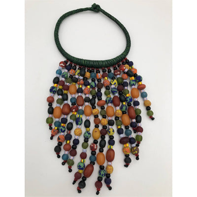 Krobo beads necklace  and leather BIG SALE - Trufacebygrace