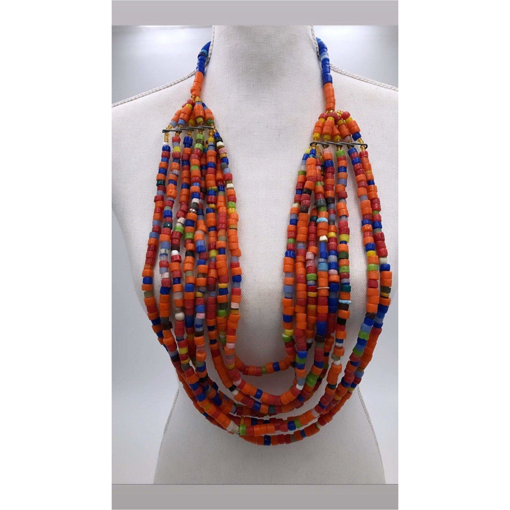 Modern trade beads statement necklace - Trufacebygrace