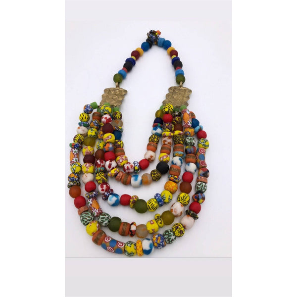 Multi strand krobo beads necklace with Brass/ adinkra symbol - Trufacebygrace