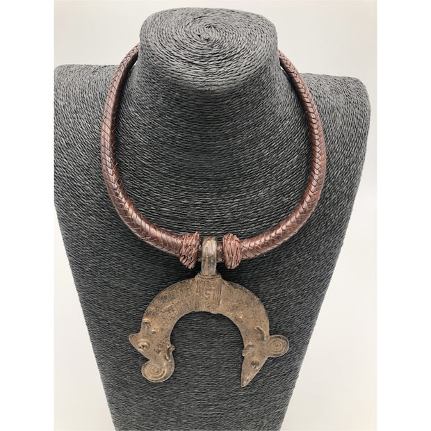 Vintage Metal and Leather Necklace - Trufacebygrace