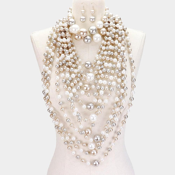 Nkawie Statement Multi Strand Pearl necklace