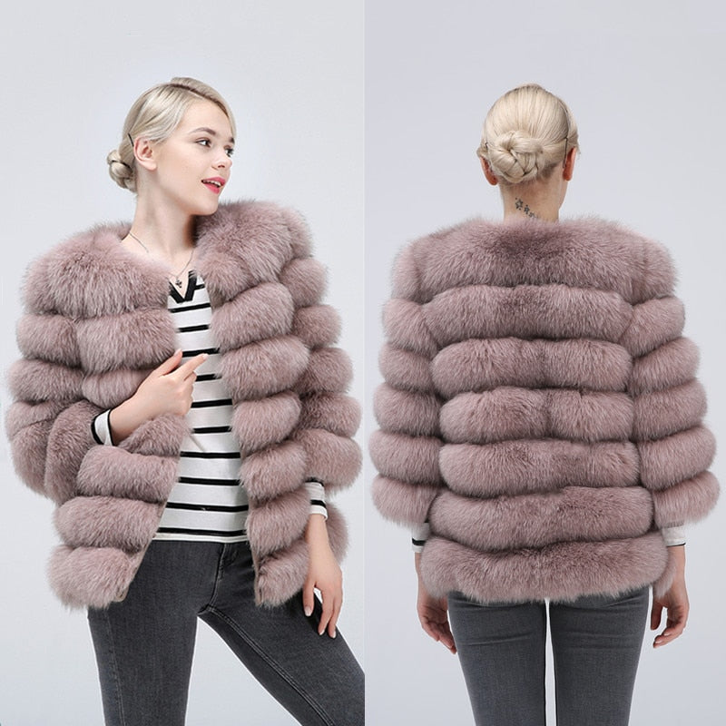 100% true fur coat Women's warm and stylish natural fox fur jacket vest leather coat Natural fur coats  Free shipping