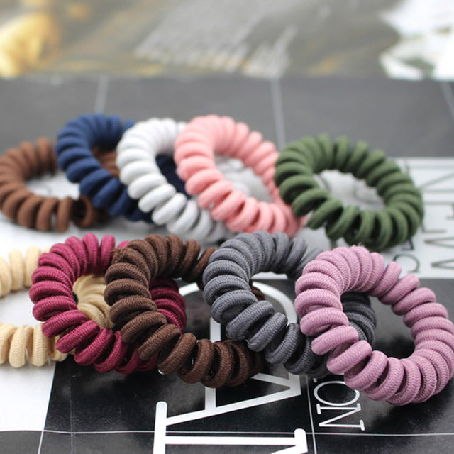 10pcs Lot Elastic Hair Bands Hair Ring Rope Spiral Nylon Rubber