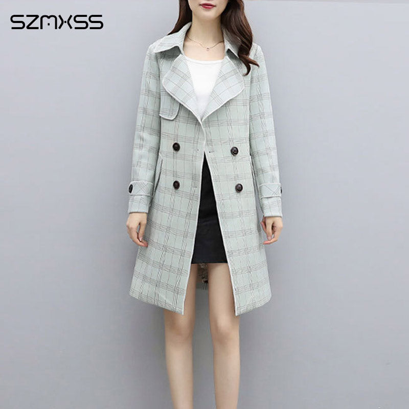 2018 Autumn New OL coats&Jackets Korean High Quality Plaid Jacket Lapel Long Sleeve Straight windbreaker