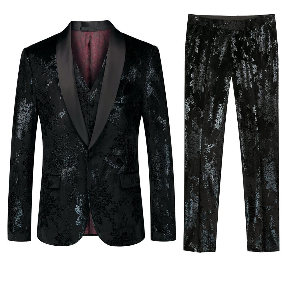 2019 Fashion Mens Suit Slim 3 Pieces Suit Blazer Business Wedding Party Male Jacket Vest with Pants Plus Size Pattern Suit Set