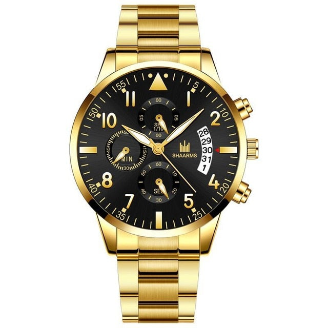 2019 Men Business Watch Luxury Stainless Steel Band Analog Quartz Watches Fashion Man Military Date Wristwatch Male Sport Clock