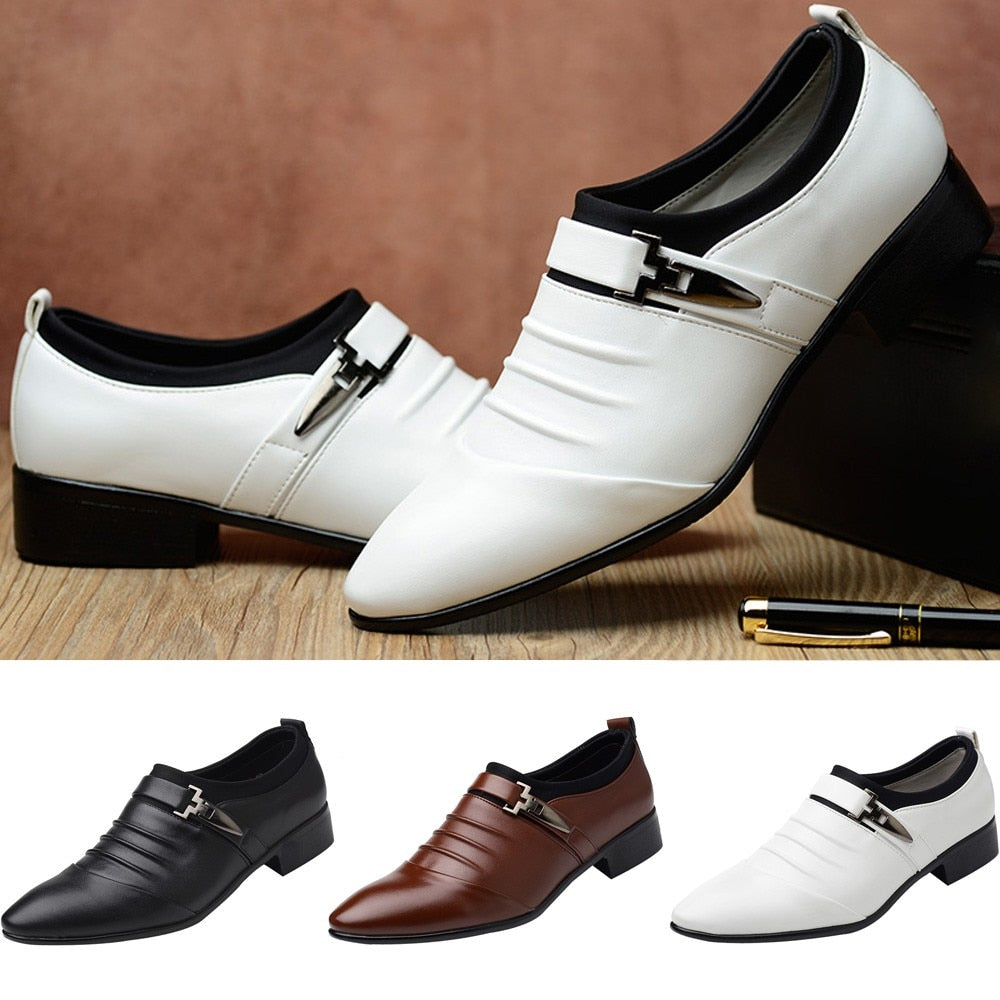 2019 New British Men's Slip On Split Leather Pointed Toe Men Dress Shoes Business Wedding Oxfords Formal Shoes For Male 38-47