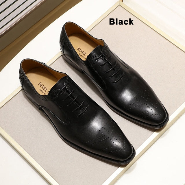 2019 New Genuine Leather Men's Dress Shoes Handmade Office Business Wedding Blue Black Luxury Lace Up Formal Oxfords Mens Shoes
