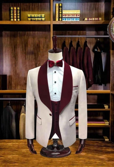 2019 wedding Men Suits Italian Style Blue Cotton groom party marriage Suits Three pieces Blazers pants terno masculino slim fit