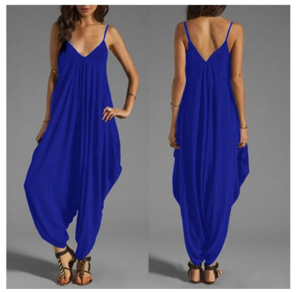 30pcs/lot! 2020 deep V halter piece pants loose big yards sling jumpsuit Sexy rompers womens jumpsuit European and American fash