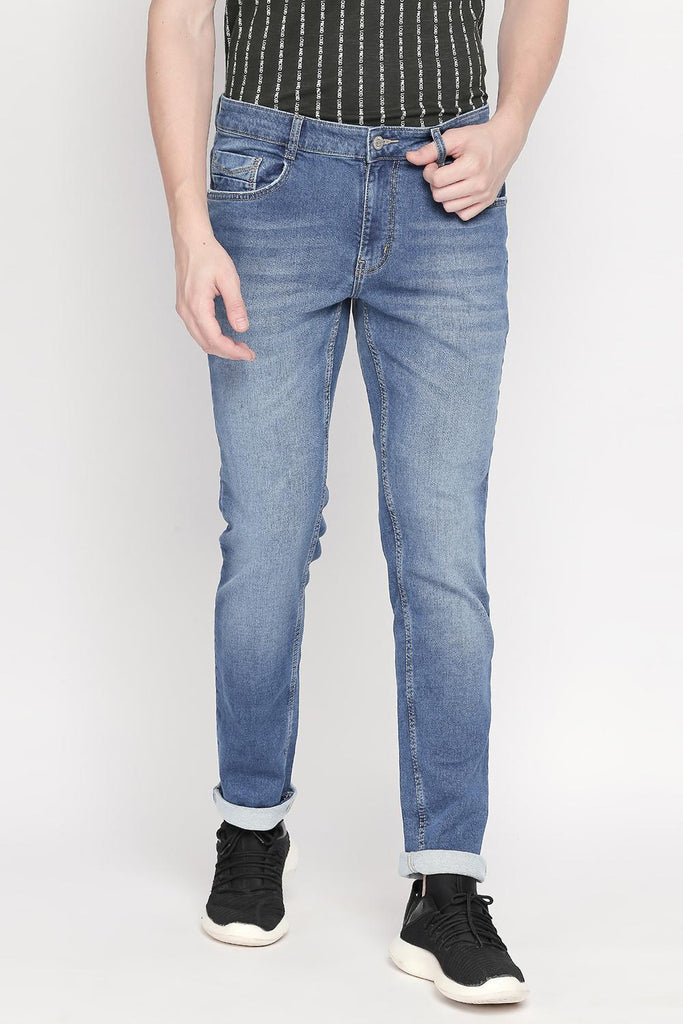 Bare Denim Men Casual Slim Fit Solid Medium Blue Jeans