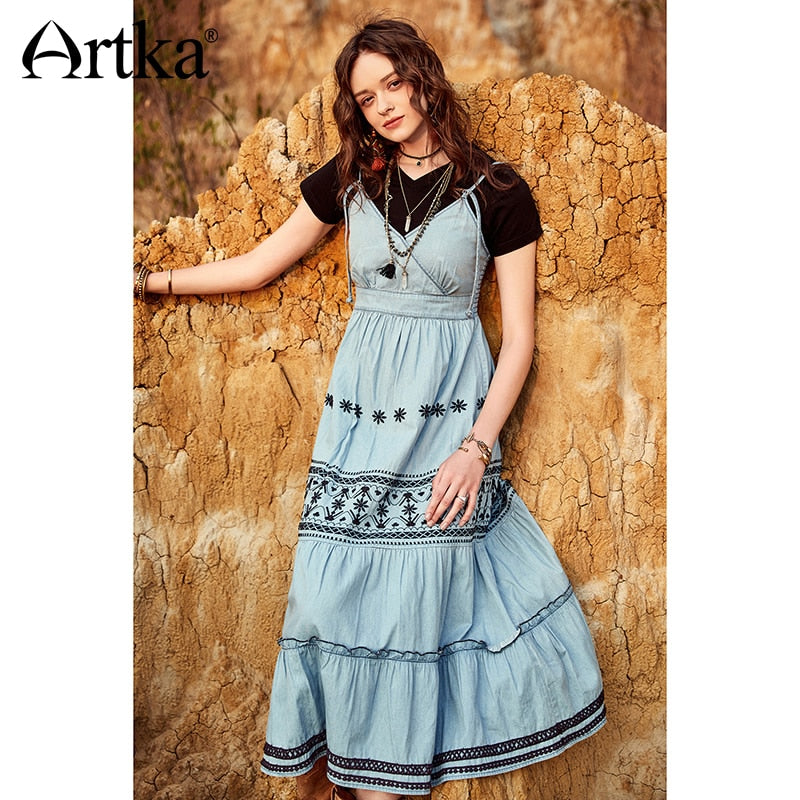 ARTKA 2018 Summer Female Cotton Bohemian Floral Embroidery Strapless V-neck High Waist Big Swing Ethnic Denim Dress LA11182C