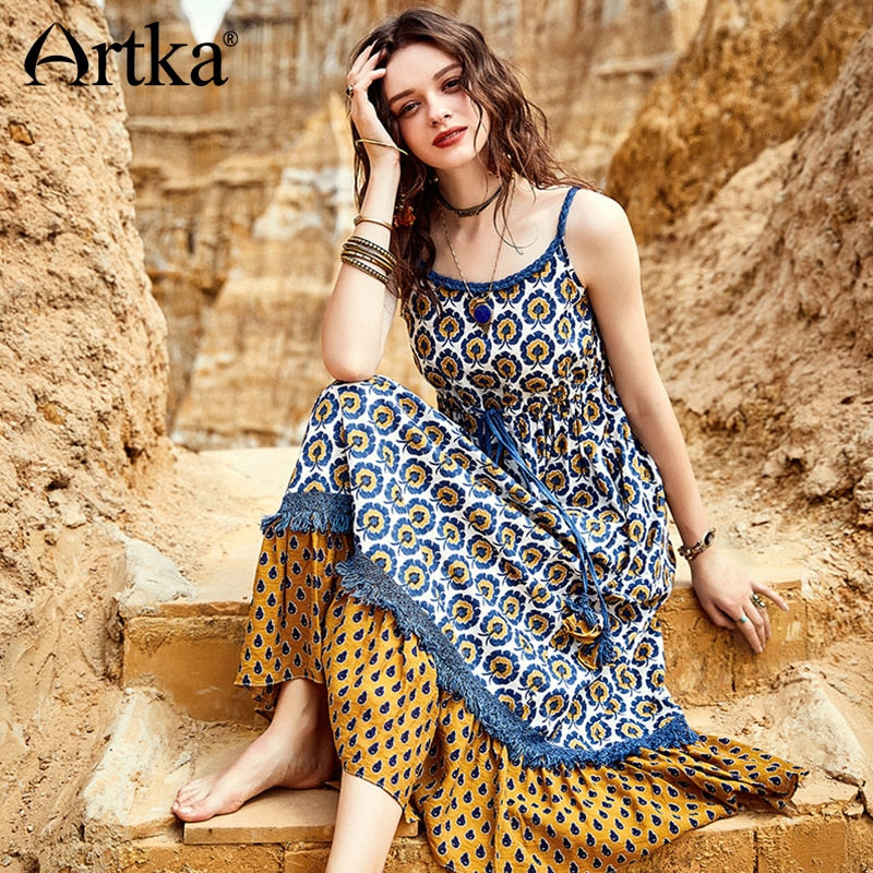 ARTKA 2018 Summer New Women Vintage Patchwork Drawstring Ethnic High Waist Sleeveless Big Swing Strap Dress LA12085X