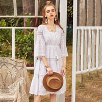 ARTKA Summer Dress 2018 Women Cotton Lace Embroidery Drawstring Flare Sleeve High Waist Ethnic Vintage Cupcake Dress LA10488C