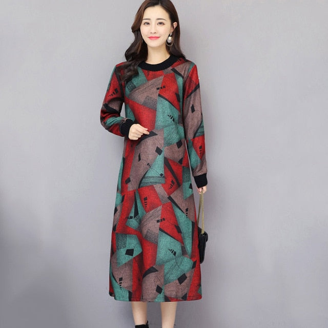 Autumn Winter Female Long Sleeve  Woolen Dress Plus Velvet Thickening 2019 New Large Size Ethnic style retro Print Dress cc763