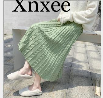 Autumn Winter Jacquard Knitted Skirt Women New Wool High Waist A-line Skirts Female Thick Midi Skirt