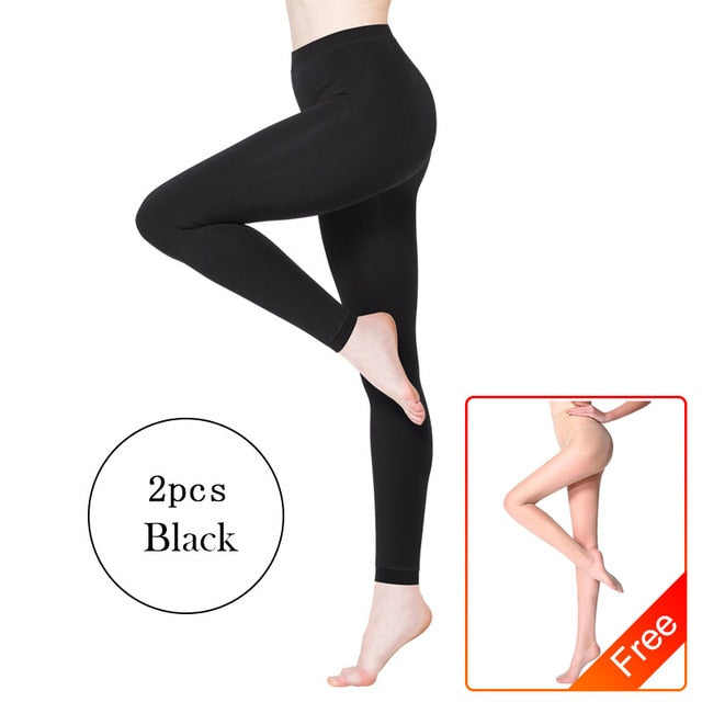 BONAS 2Pcs Women Warm Leggings Fitness Soft Comfortable Leggins Female Velvet Leggings Plus Size Elasticity Warm Winter Leggings