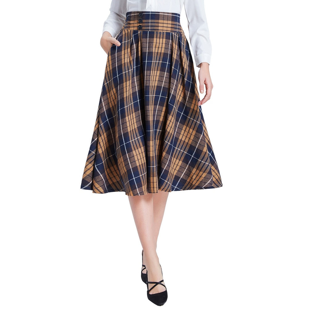 Belle Poque England Style 2019 Autumn Women Elegant Plaid Skirts Women Pleated High Waist Korean Office Midi Skirt Streetwear