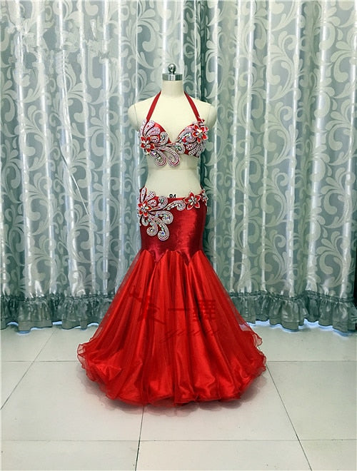 Bellydance oriental Belly Indian gypsy dance dancing costume costumes clothes bra belt chain scarf ring skirt dress set suit 605