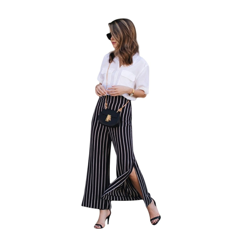 Black white stripe side slit plus size wide leg pants women ladies high waisted oversize OL formal plazzo trousers for work