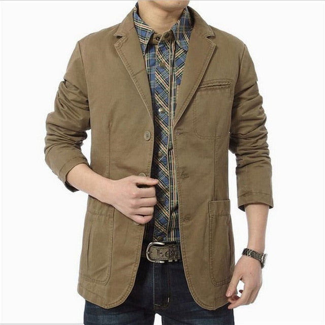 Blazer Men Casual Blazers Cotton Turn-Down Denim Parka Men Slim Fit Jackets Army Green Khaki Size M- 5XL Outdoors Outwear Coat