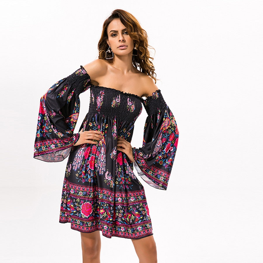 Bohemian Beach Loose Women Summer Ethnic Dress Patterns Print  Mini Blouse Dress Flare Sleeve Hippie  Robe