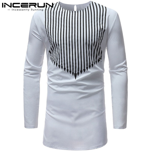 Brand Kurta Men African Dashiki Dress Shirt Striped Print Shirt Long Sleeve White Shirts Africa Clothing Camisa Chemise Hombre