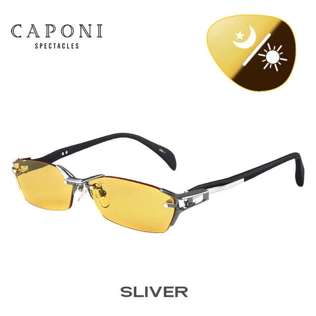 CAPONI Pure Titanium Sunglasses Polarized Photochromic For Driving Day Night Vision Glasses Sun glass Men Brand UV400 BSYS1141