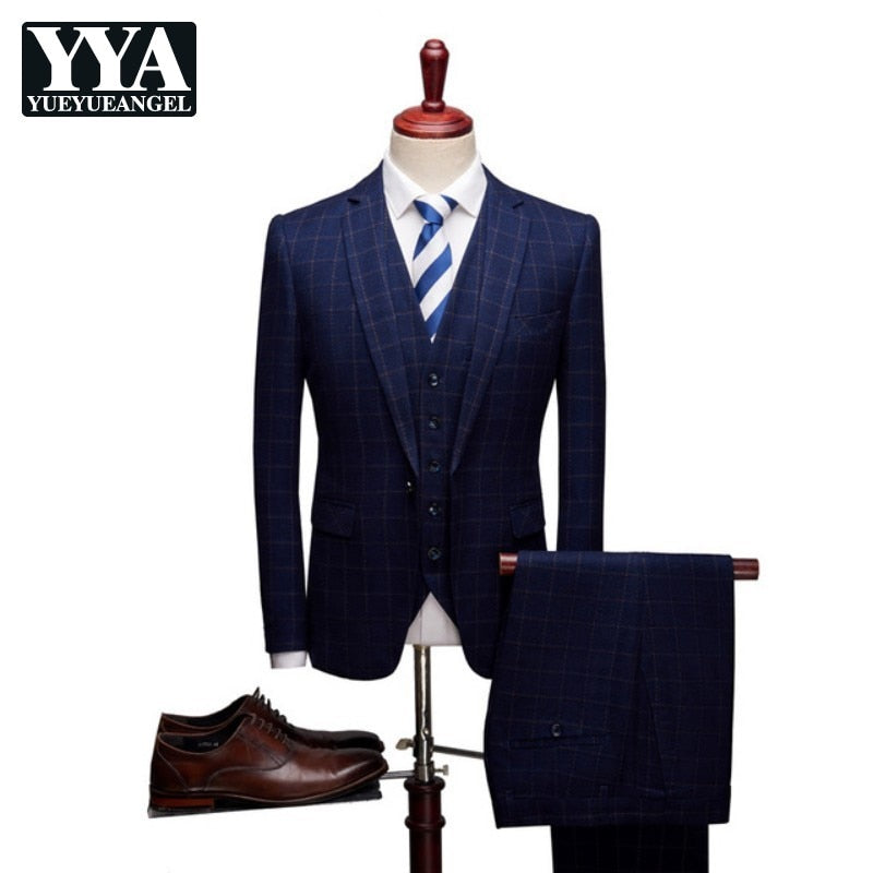 Classic 3 Pieces Jacket Pants Vest Men Suits 2019 Slim Fit Plaid Groom Wedding Dress Formal Business Fashion Party Dress Male