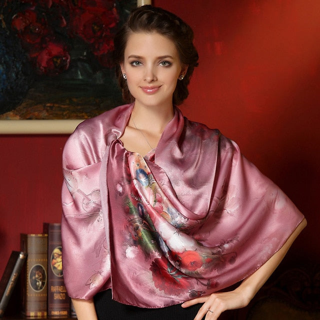 DANKEYISI 100% Mulberry Long Scarf Women Silk Scarf Luxury Brand Scarf Shawl Silk Scarves Long Printed Shawls Beach Cover-ups