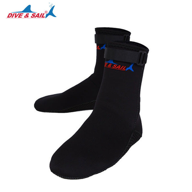 DIVE&SAIL 3mm Neoprene Scuba Diving Socks Shoes Scratch Proof Non-slip Winter Water Sports Snorkeling Surfing Swimming Boots