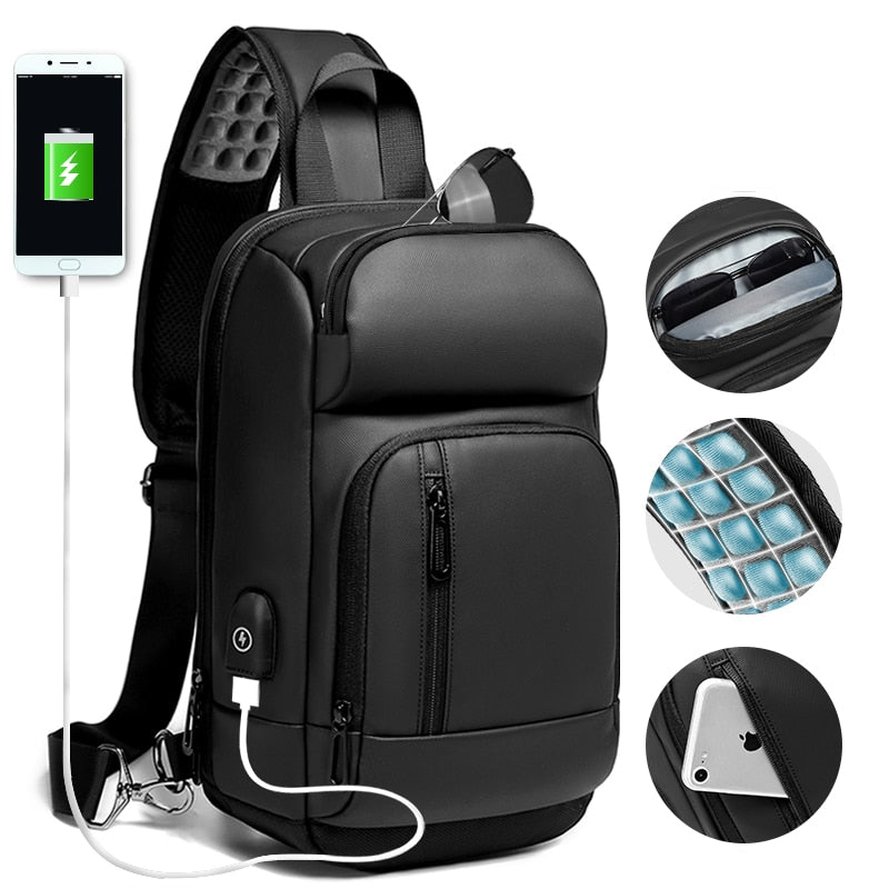 EURCOOL Black Chest Packs Men USB Charging Casual Shoulder Crossbody Bags Water Repellent Travel Messenger Bag Male n1820