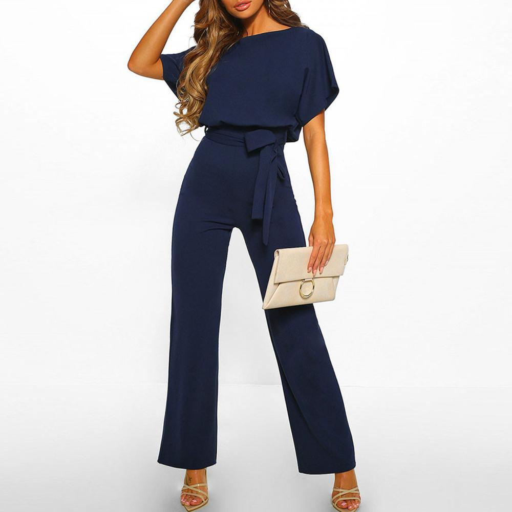 Elegant O Neck Casual Jumpsuits 2019 Summer Red 3XL Plus Size Loose Women Bandage Long Overalls High Waist Straight Office Wears