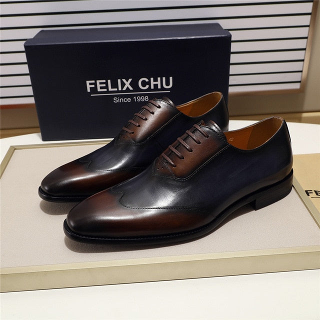 FELIX CHU Modern Wingtip Toe Men's Oxford Shoe Genuine Cow Leather Lace up Formal Shoes Mixed Colors Fashion Mens Dress Shoes