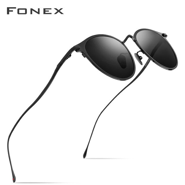 FONEX Pure Titanium Sunglasses Men Vintage Small Round Polarized Sun Glasses for Women 2019 New Retro Mirrored UV400 Shades 8509