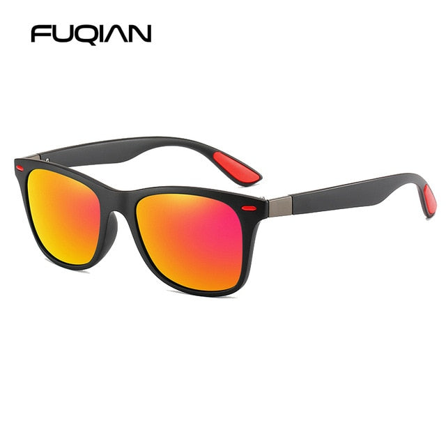 FUQIAN Hot Sale Polarized Sunglasses Men Women Classic Square Plastic Driving Sun Glasses Fashion Eyeglass UV400 Gafas De Sol