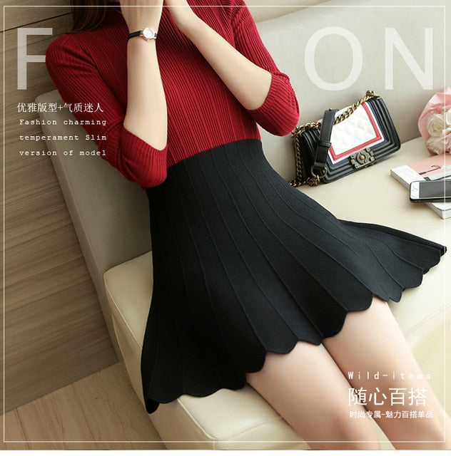 Faldas Long Skirt Women Wear Classic A-shaped Skirt Knitted To Prevent Light Out Of The Small Qing New Year And Autumn Outfit