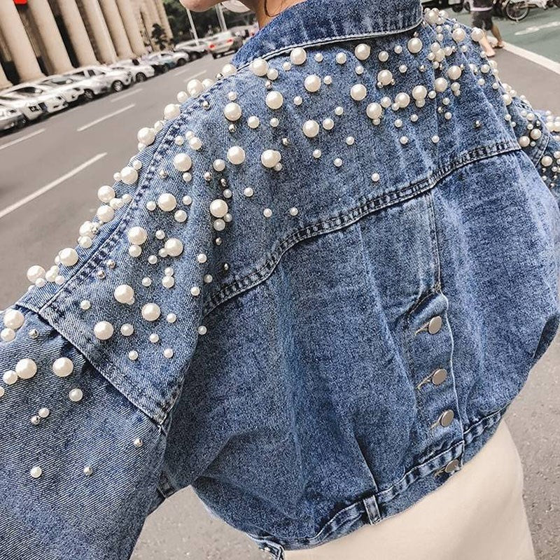 Fall Women Korea Sweet Pearl Decor Denim Jacket Bf Wind Short Jeans Jacket Pearls Long Sleeve Casual Pockets Loose Coat