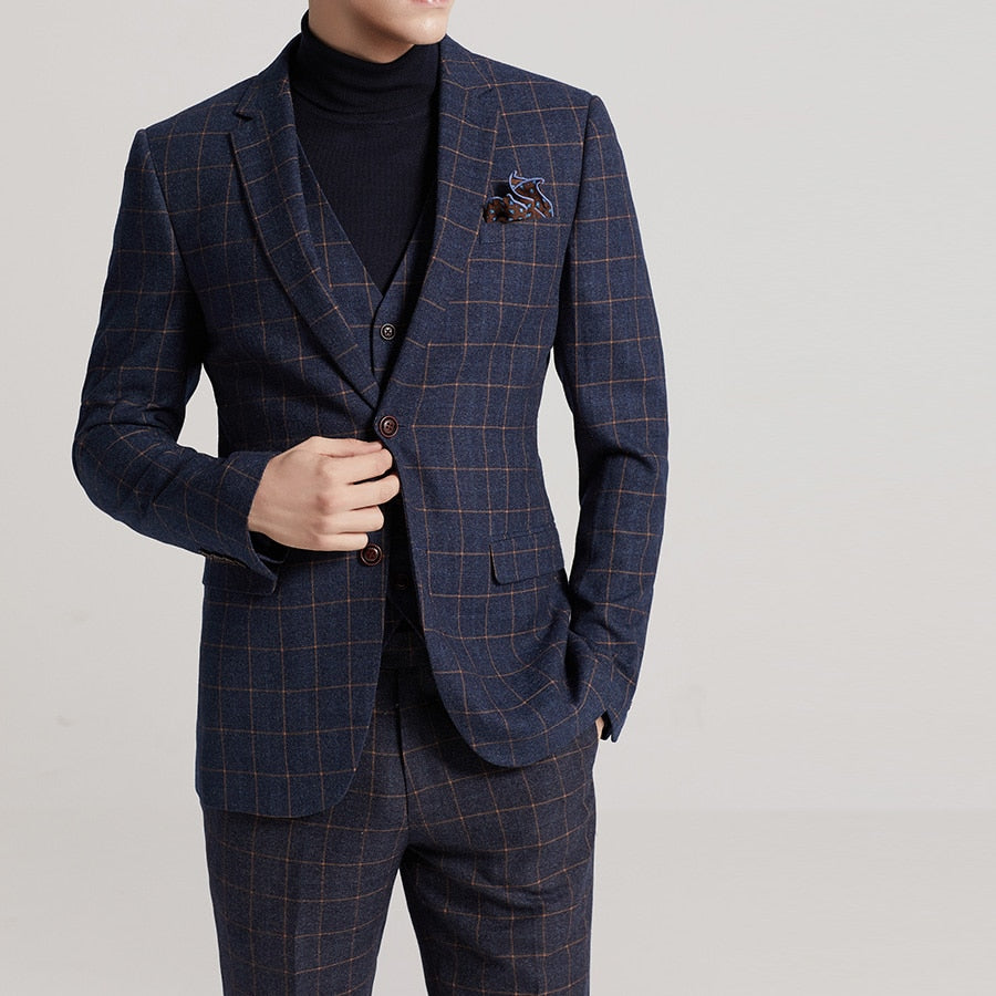 Fashion Plaid Business Suit Groom Tuxedos Wedding Suit Blazer Men 3Pcs (Jacket+Vest+Pants) Single Breasted Suit Men 2019
