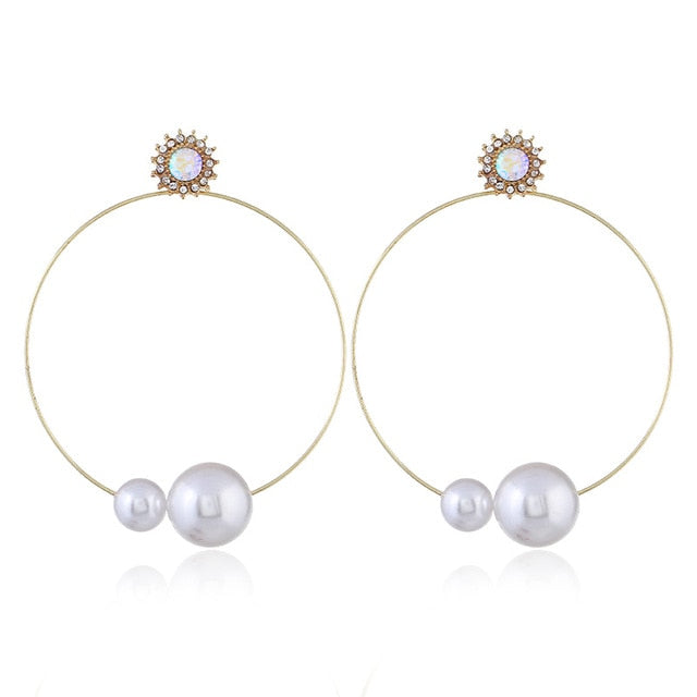 Find Me Cute Shell Drop Earrings 2019 new Fashion Jewelry for Women Geometric Alloy Heart Long Dangle Imitation Pearl Earrings