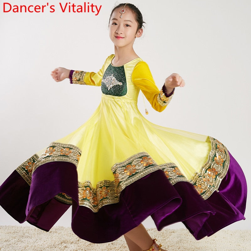 Girls Indian Dance Big Hemline Sparkling Diamond Dress Oriental Belly Dancing Stage Wear Competition Performance Costume