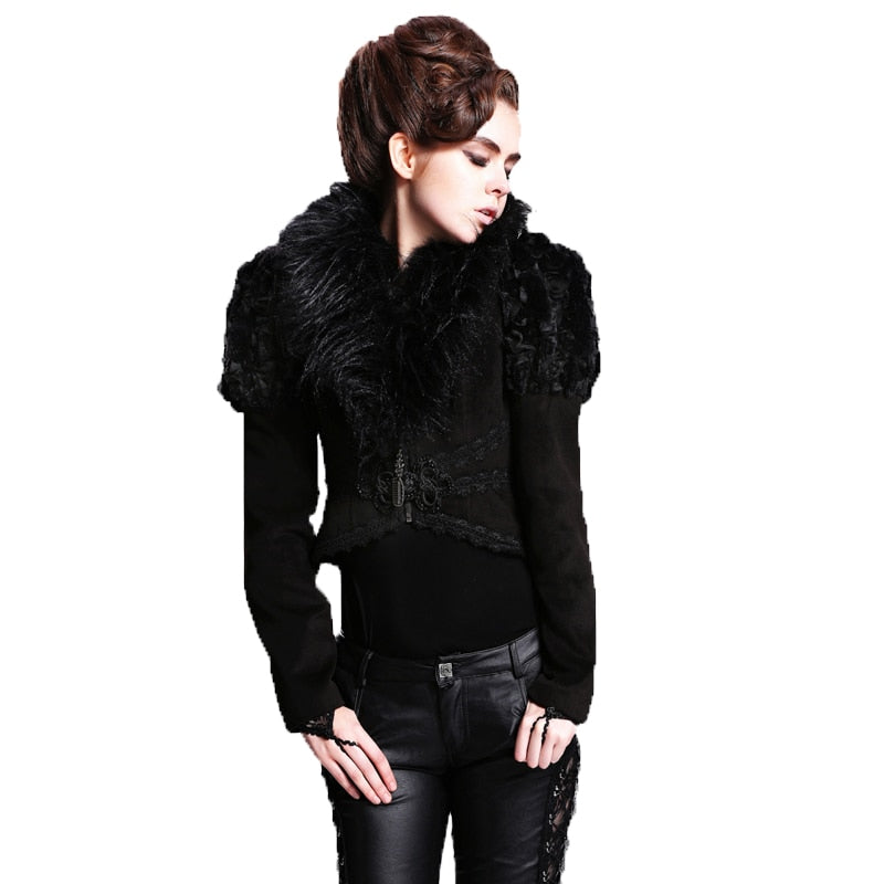 Gothic Women's Jacket Feathers Collar Lace Back Short Jackets Black Slim Zipper Coats Thick Warm Asymmetric Jackets New Arrivals