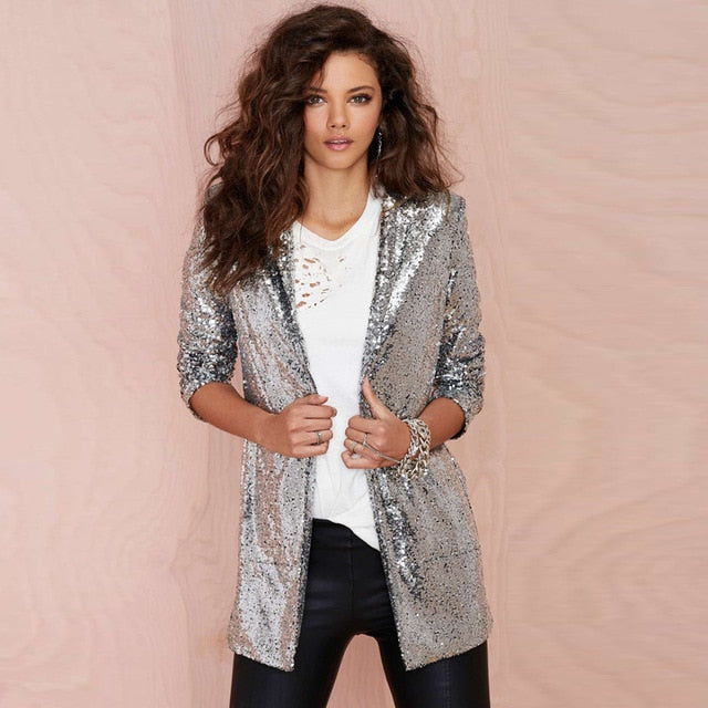 HDY Haoduoyi Autumn Fashion Women Silver Sequined Coats Turn-down Collar Long Sleeve Outwears Cardigan Jackets