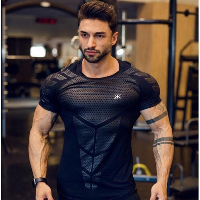 HETUAF 2019 New Cotton T Shirt Men Breathable T-Shirt Homme Gyms T shirt Men Fitness Summer Printing Gyms Tight Top Black