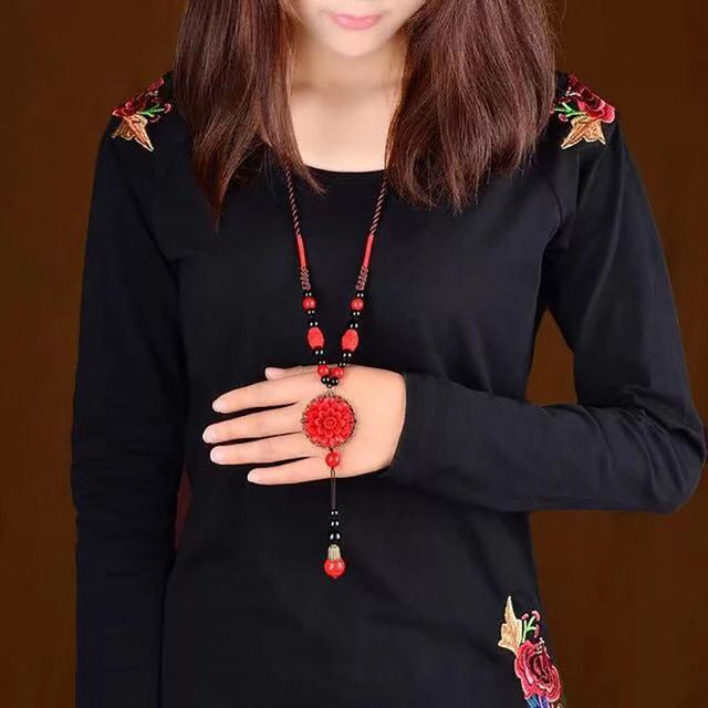 HayStarWay2019 Girl Women Ethnic Necklaces Birthday Gift Jewelry Wedding Sweater Chain Pendant Red Ornaments New Year