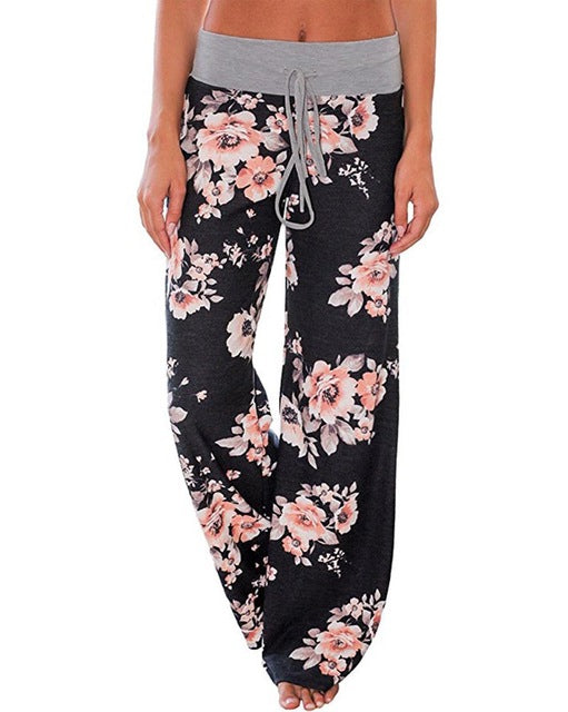 Hitmebox 2019 Fashion Boho Wemen's Wide Leg Floral Printed Straight Draswstring Casual Long Pants Female Leisure Plazzo Trousers