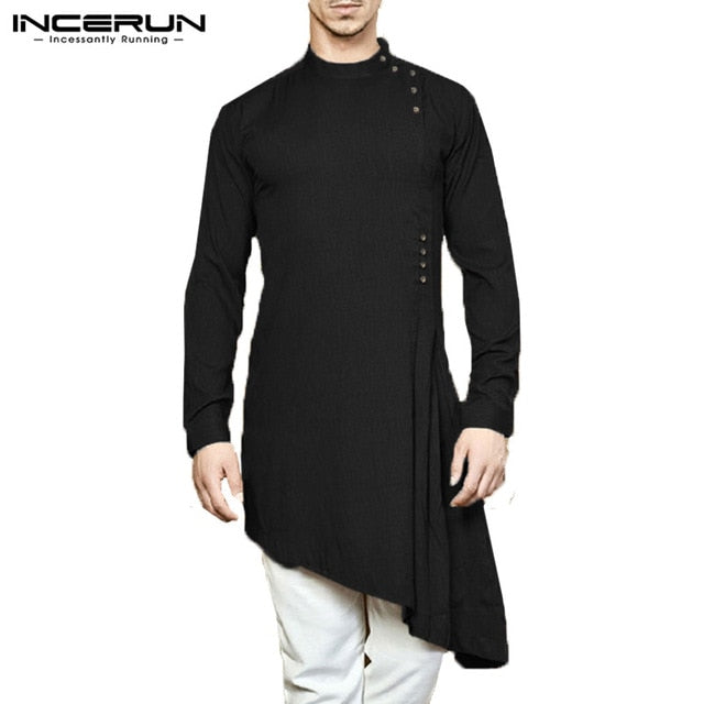INCERUN Men Shirt Indian Kurta Suit Cotton Long Sleeve Solid Color Asymmetrical hem Men Long Shirt Islamic Muslim Arab Kaftan